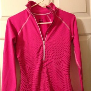 Nike Pro pull over with half zipper. Hot Pink.